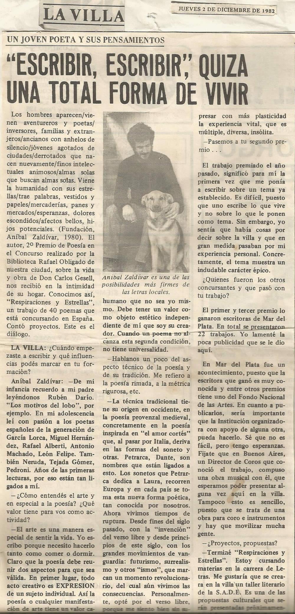 Entrevista de Nestor Melcon para Semanario La Villa 1982_lectura