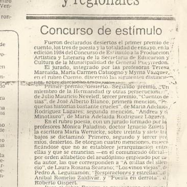 Respiraciones y Nota concurso Mar del Plata 1984