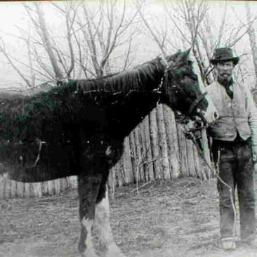 1_El caballo Malacara y el pionero John Evans-Gentileza Clery Evans, Museo Cartref Taid
